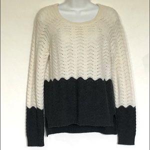 HAYDEN Cashmere Pointelle Knit Color Block Sweater